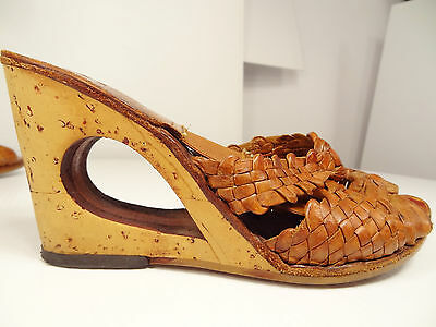 Vtg 70s People Movers Woven-Leather Springolator Cut-Out Cork Wedge Sandals-6