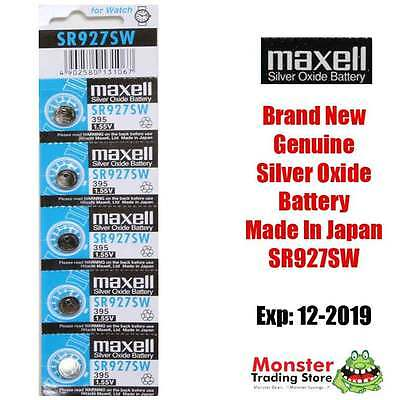 5 Pcs Sr927Sw 395 1.55V Silver Oxide Battery Made In Japan For Watch New