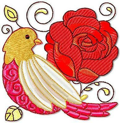 Red Birds And Flowers 10 Machine Embroidery Designs Cd 2 Sizes