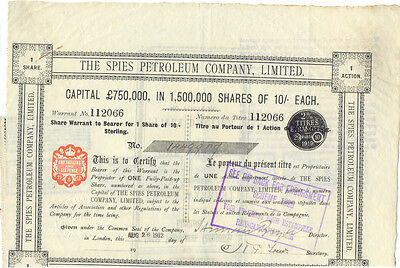 England The Spies Petroleum Company Aktie 1912 schwarz