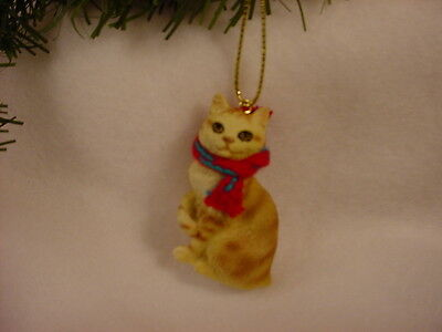 MANX CAT Ornament HAND PAINTED Resin Figurine CHRISTMAS red orange kitty kitten