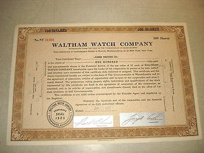 1957 WALTHAM WATCH COMPANY Cancelled Brown Stock Certificate 100 Shares