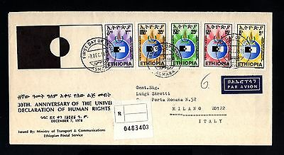 15526-ETHIOPIA-REGISTERED AIRMAIL FDC.COVER ASMARA to MILANO (italy) 1978.Human