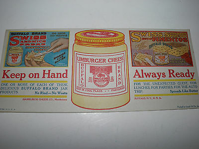Vintage Paper Advertising Ink Blotter Buffalo Brand Limburger Cheese New York