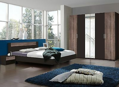 "Qmax ""Liana"" Range, German Made Bedroom Furniture. Lava & Muddy Oak Finish."