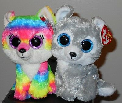 "Ty Beanie Boos Set ~ RIVER & WARRIOR the Wolves 6"" (GWL Exclusives) NEW MWMT'S"