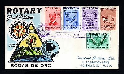 15354-NICARAGUA-FIRST DAY AIRMAIL COVER ROTARY.MANAGUA to USA.1955.