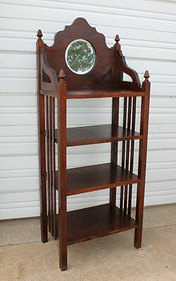 Antique Beveled Mirror Mahogany Music Cabinet Bookcase Shelf Rack Stand Vintage