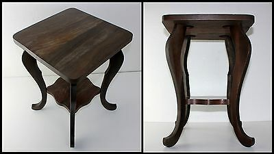 Antique Square Wood Table Plant Night Stand wBottom Shelf Cabriole Legs Mahogany