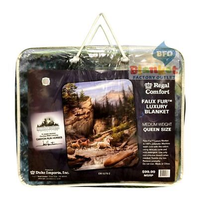 "Hautman Brothers Horse Horses Canyon Run  Queen Size Blanket 79"" x 96"""