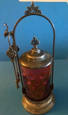 Victorian silver plate pickle castor with cranberry glass insert with tongs