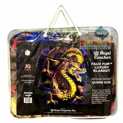 "Dragon Aurora Colorful Queen Size Blanket 79"" x 96"" fax fur thick NEW"
