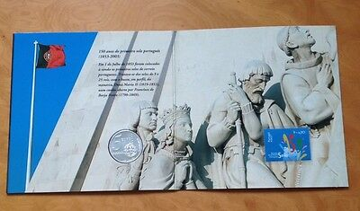 Portugal 2003 Silver 5 Euro Coin & Stamp Set .