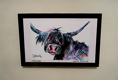 Highland Moo.Art print on a canvas from an original painting.Suzanne Patterson.X