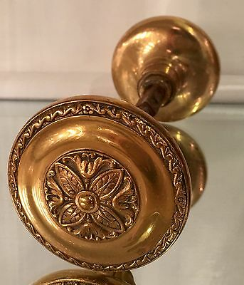 Antique Bronze Doorknob Set W Rosette Center