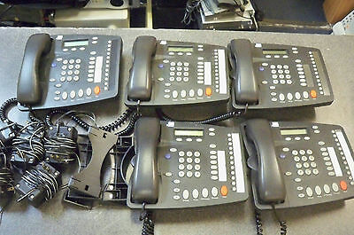 Lot of (5) 3Com 655000803 NBX Gray Business Phones w/Stands Handsets & power #4S