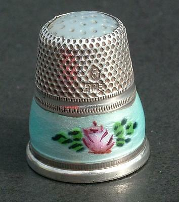 Antique Sterling Silver Norwegian Enamelled Thimble