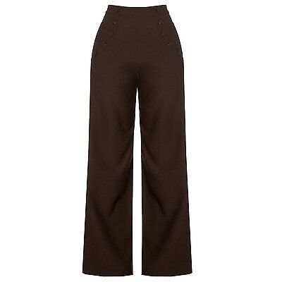 Dancing Days Brown 1940s Style Retro Vintage Swing Trousers Wide Leg High Waist