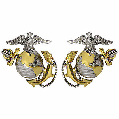 Marine Corps Collar Device For Officer with EGA   NEW  (MADE IN THE USA )