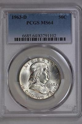 1963 D Silver Franklin Half Dollar MS64 PCGS United States Mint 50c Coin