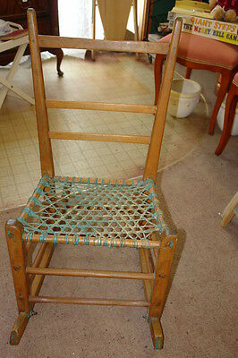 Antique Wooden Primitive Pine Rocking Chair with Gut Seat -  3 Slat Back