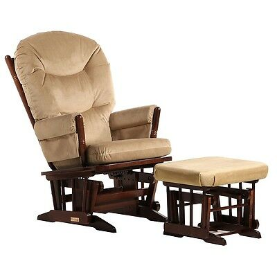 Dutailier Ultramotion- 2 Post Glider and Ottoman Combo- Coffee Finish and Light