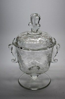 Nice! Heisey Orchid Footed Candy Jar W/cover – Seahorse Handles