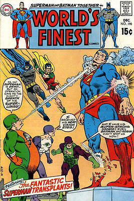 WORLD'S FINEST COMICS #190 F, Superman, Batman, water spots b/c, DC Comics 1969