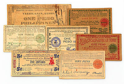 Set of 7 different Philippines WW2 guerilla paper money circ.