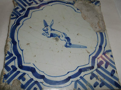 """Antique Delft Tile LEAPING RABBIT  blue and white  5"""" sq"""