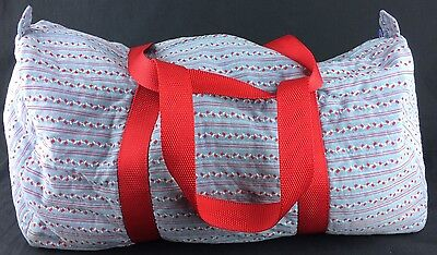 Nice Unique Hand Made Vintage Cotton Duffel Bag Periwinkle Blue & Red