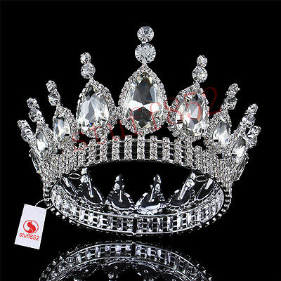 Baroque Crystal Queen Full Crown Tiara Teardrop Rhinestone Silver Gold Plated