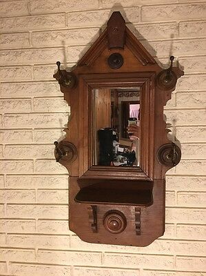 Antique Wall Hanging Mirror Hat Rack with Platform