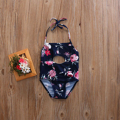 Cute Toddler Kids Girls Floral Bathing Swimsuit Beach Party One-Piece Swimwear