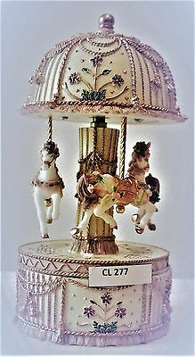 "Cream And Gold  Musical Carousel Trinket Box 19 Cms/ 7.5""    Present  Edelweiss"