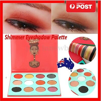 12 Colors Shimmer Eyeshadow Palette Makeup Cosmetic Powder Flexibility Lasting