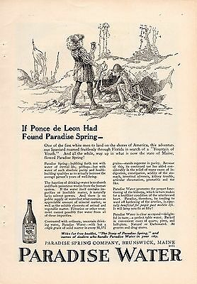 1921 Paradise Spring Water Ad-Ponce De Leon-Brunswick,maine