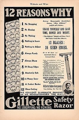 1906 Ad-12 Reasons To Use A Gillette Safety Razor