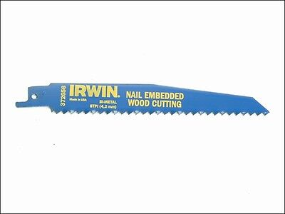 IRWIN 10504155 656R 150mm Sabre Saw Blade Nail Embedded Wood Cut Pack of 5