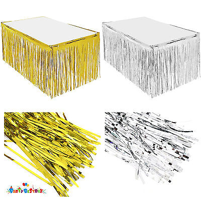 Summer Party Metallic Fringe Table Skirt Foil Tinsel Table Skirt for luau Party