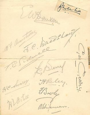 1930s group of leicestershire cricket autographs !