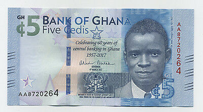 Ghana 5 Cedis 4-3-2017 Pick New UNC Uncirculated COMM Banknote 60th Anniversary