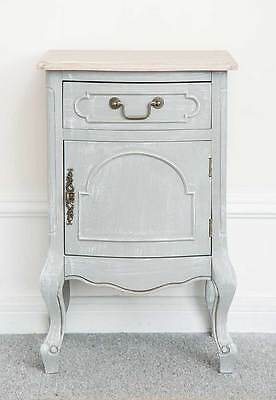 French Style Bedside Table Montpellier Collection Bedroom Cabinet Unit Grey Cupb
