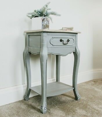 Grey French Style Bedside Table Montpellier Bed Table Unit Bedroom