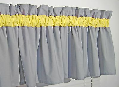 Yellow & Solid Gray Window Topper Curtain Valance Bath Bedroom Nursery FREE SHIP