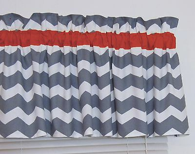 Red and Gray Chevron Window Valance Zig Zag Bedroom Bath Nursery Decor FREE SHIP