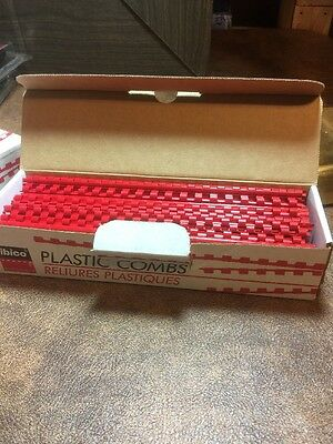 """Ibico Binding System 100 Count Plastic Combs 1/4"""" Red New Model 15047"""