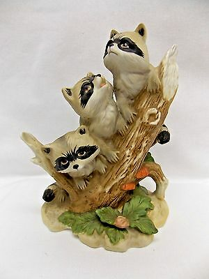 Three Young Raccoons on Tree Trunk Figurine Porcelain by Homco #1433  6In x 5 In
