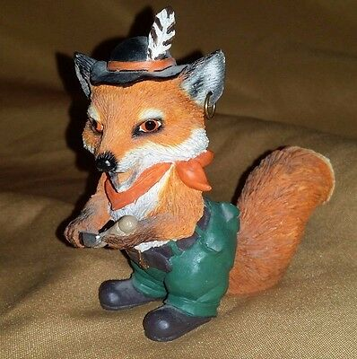 Adorable Red FOX Wearing German Outfit Figurine 1994