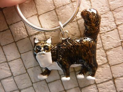 NEW Metal KITTY CAT Keychain w High Gloss Enamel Coat in Pet Carrier  -Was $14